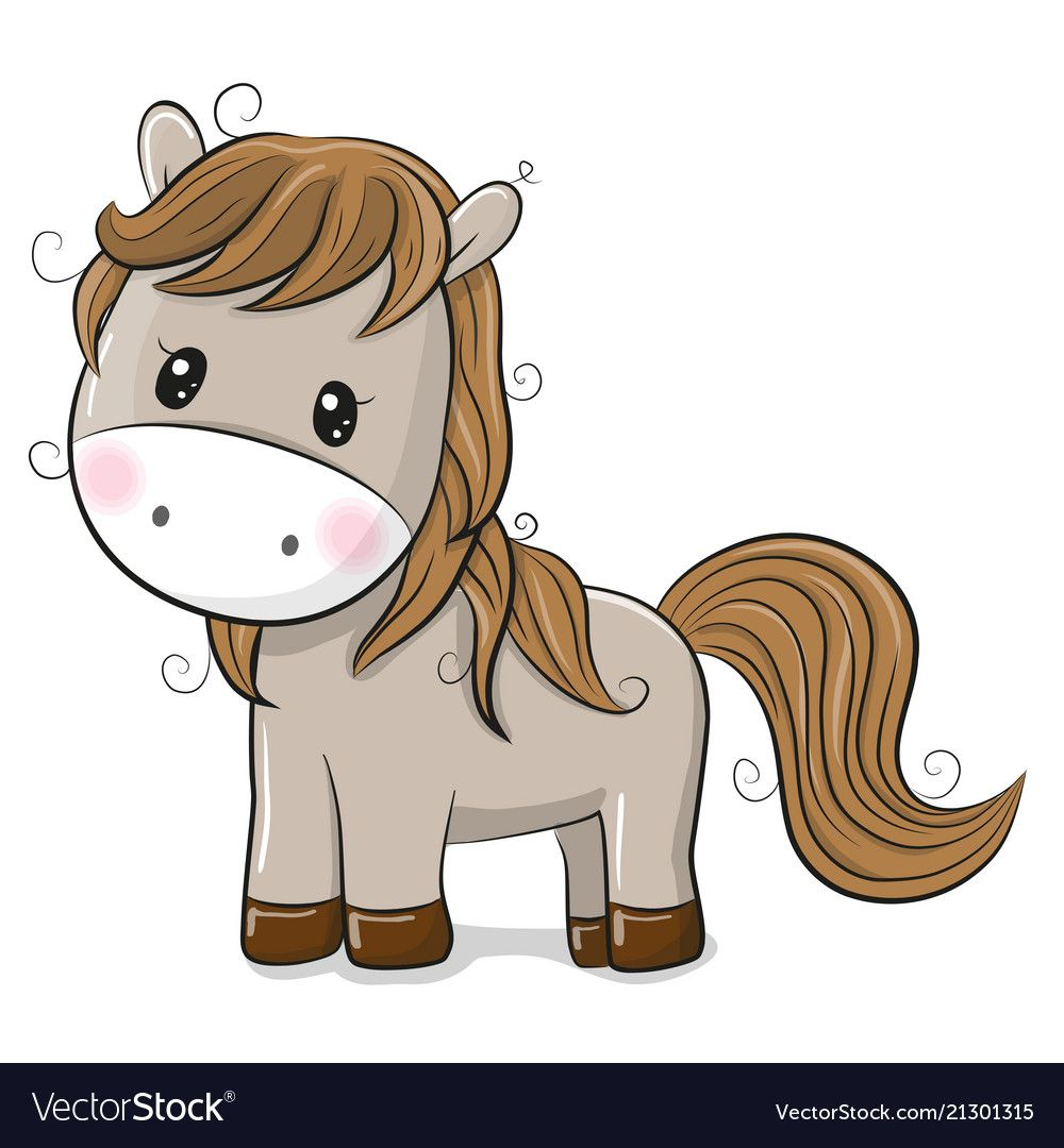 Cute cartoon horse on a white background Vector Image Craft ideas