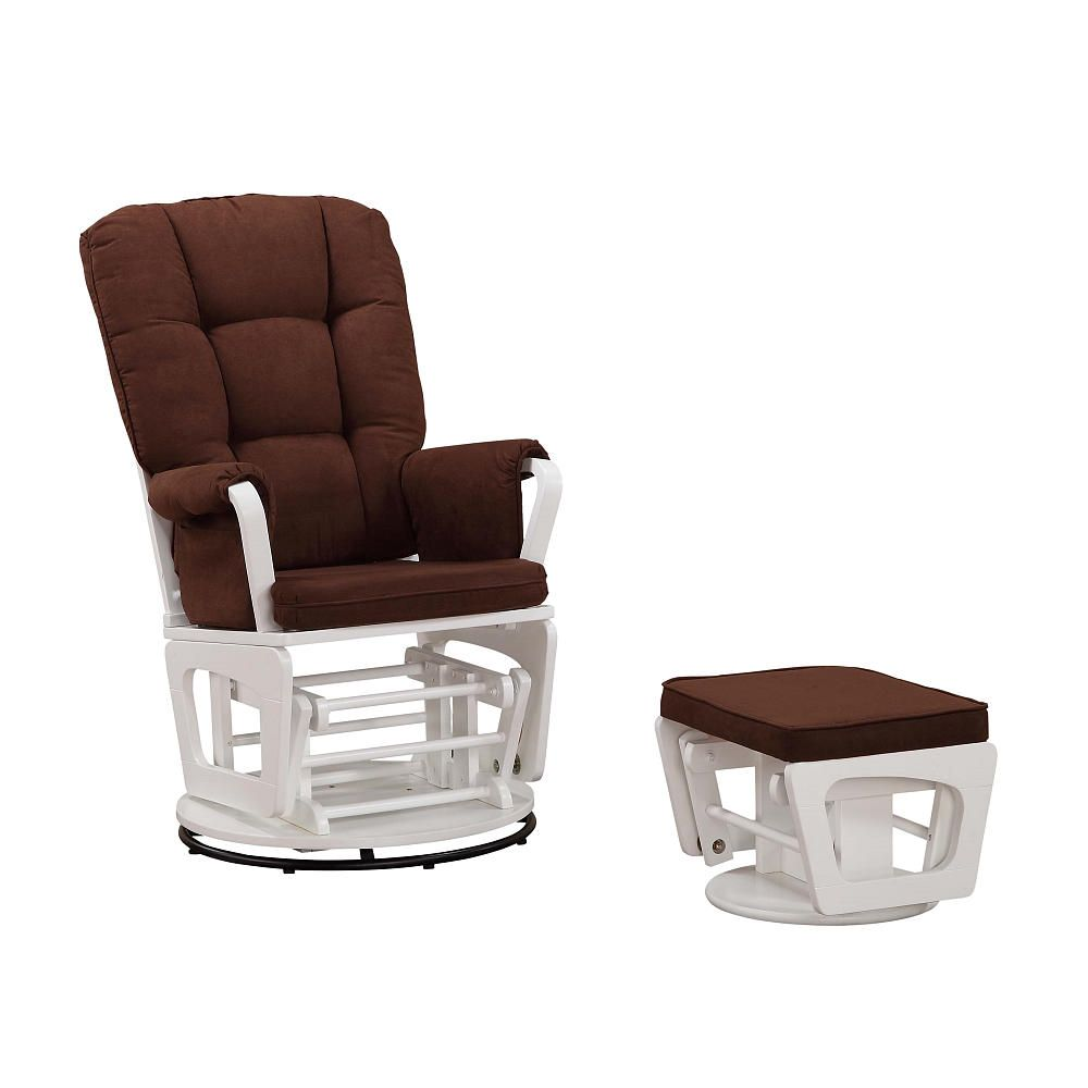Baby Cache Logan Swivel Glider Ottoman Set - White/Chocolate - Baby ...