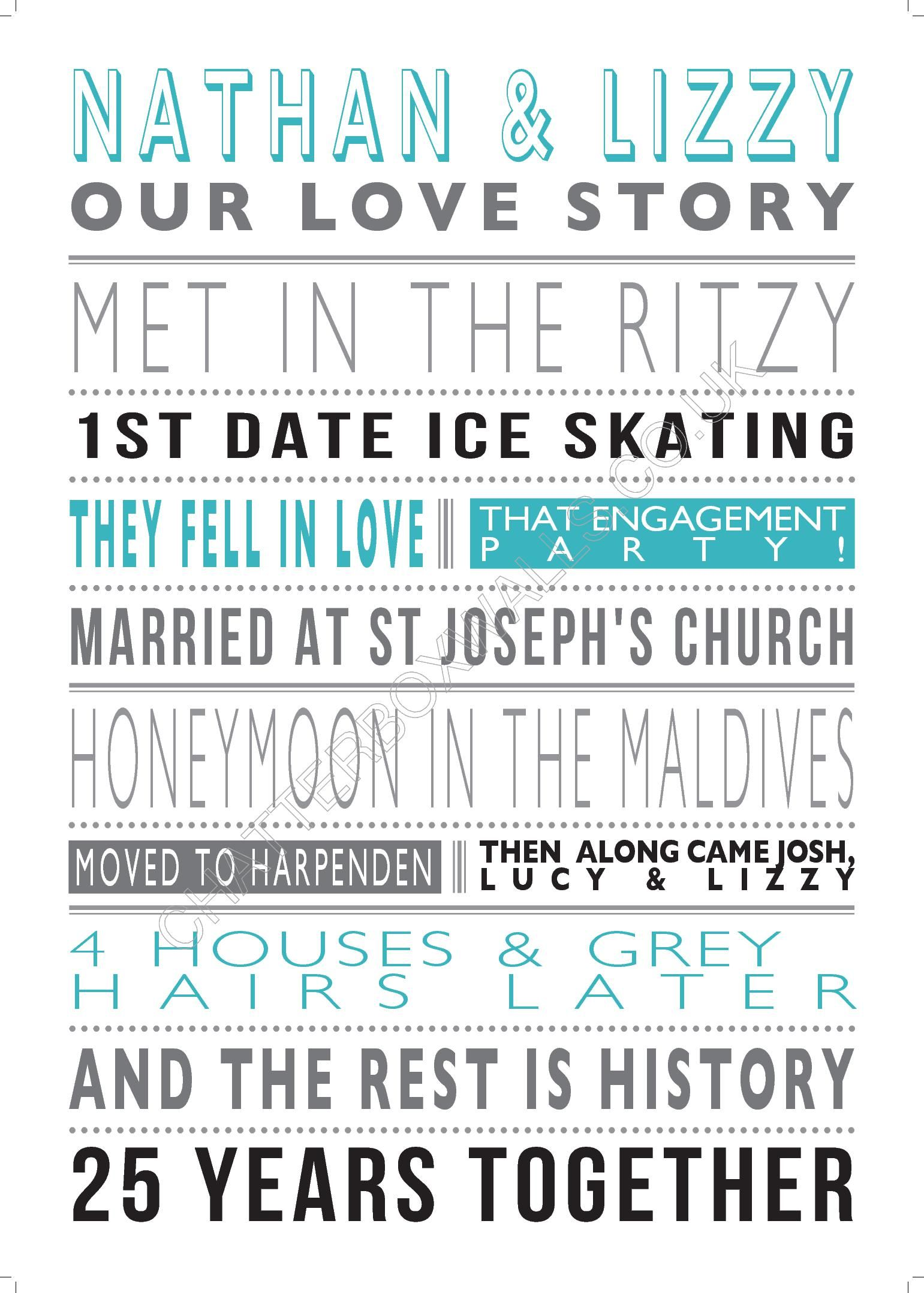 Our Personalised Love Story Print Tells The Story Of Your Life In You Words
