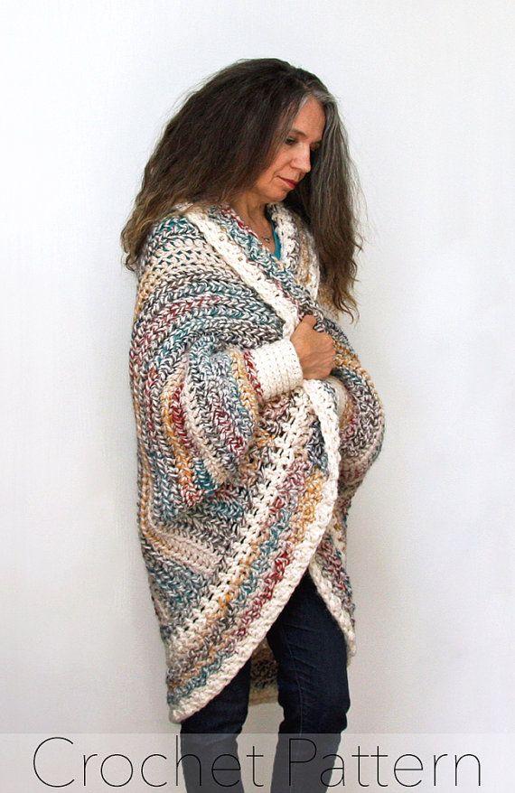 Shrug del ganchillo patrón / suéter de la Rebeca de gran tamaño ...
