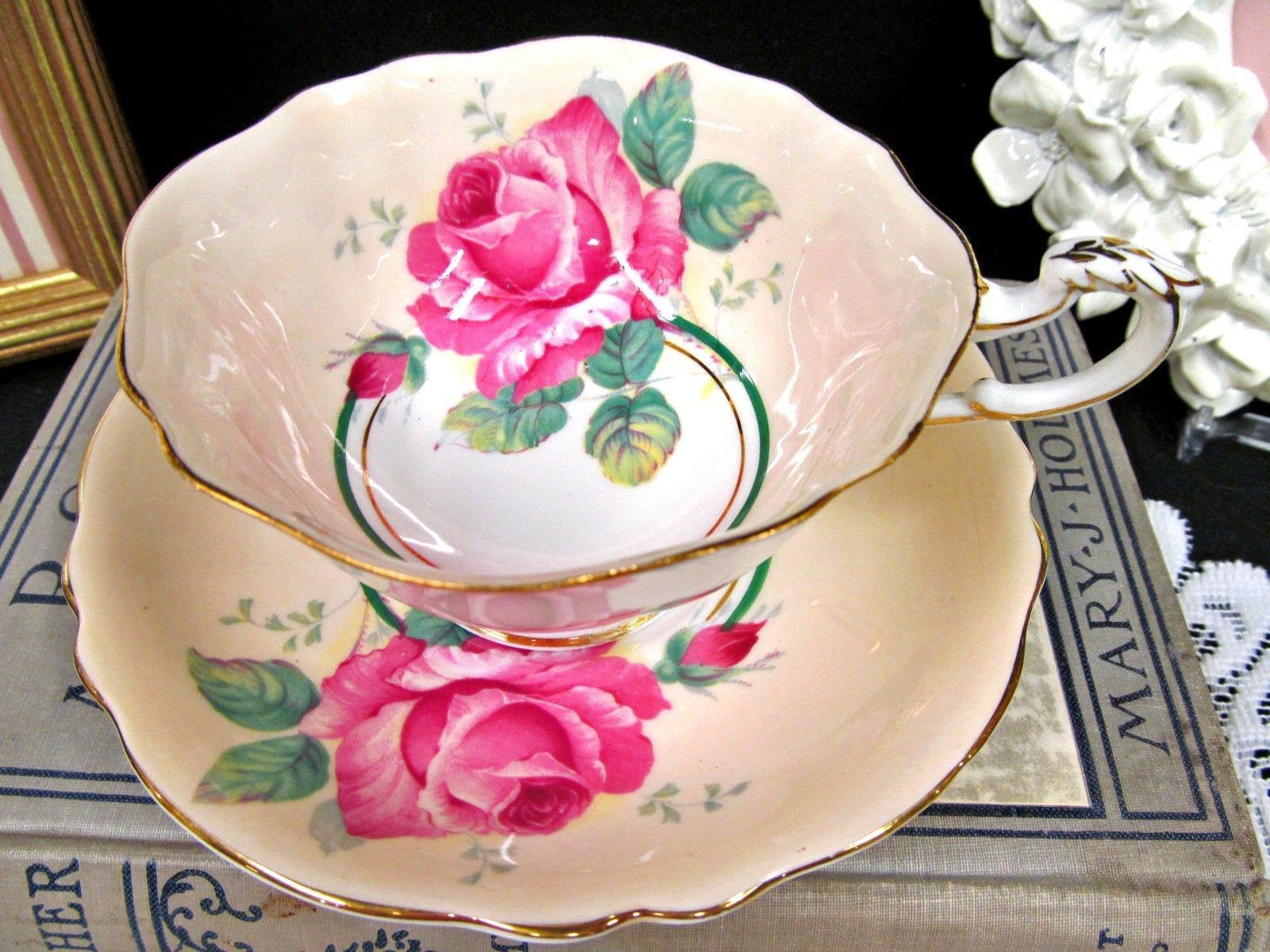 PARAGON tea cup and saucer ROSE pink & peach teacup wide
