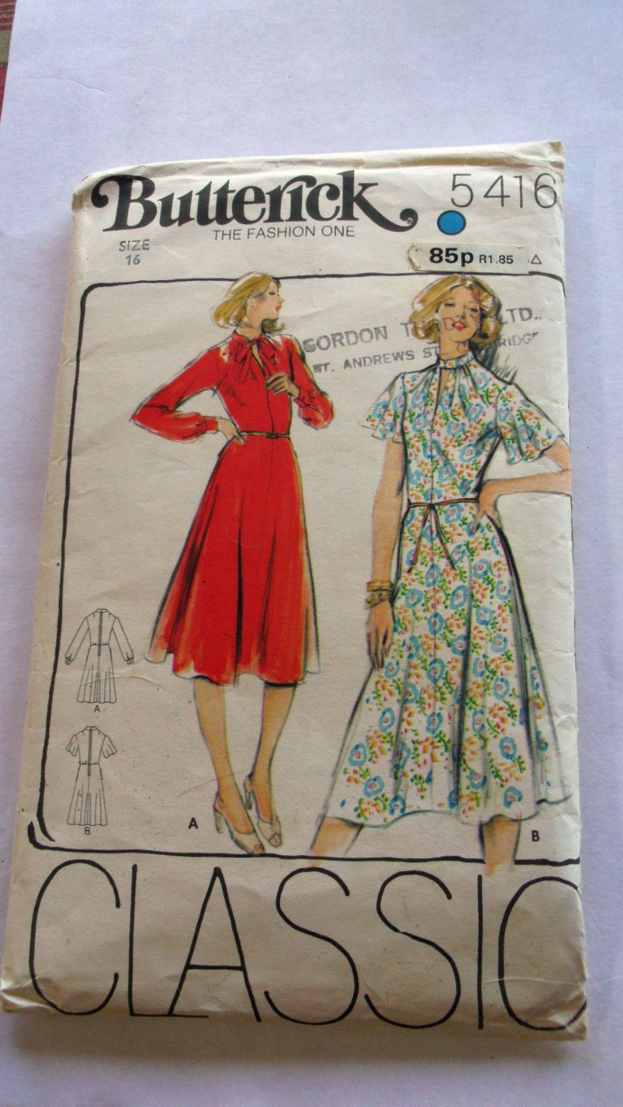 Missionary Auction 1 Vintage Complete Used Butterick Pattern 5416 | eBay
