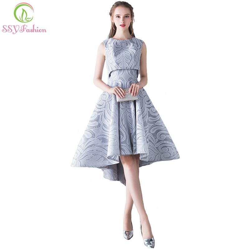 c6bf0e6804 SSYFashion 2017 New Simple Elegant Evening Dress Bride Grey Lace Two Pieces  High low Sleeveless