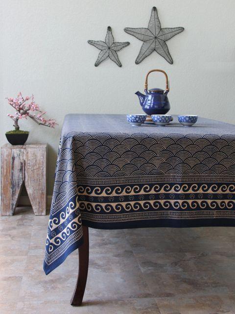 Navy Blue Indigo Blue Bedding And Table Linens, Combine Zen Simplicity With  California Coastal Style