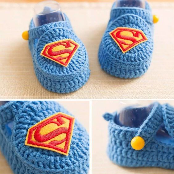 Superman booties crochet free pattern | Booties And Slippers ...