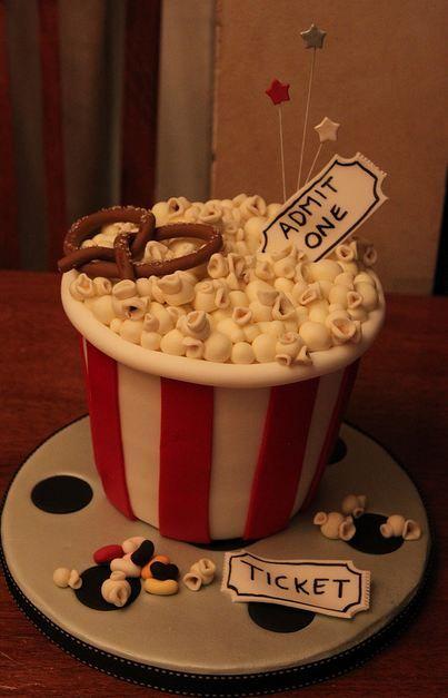Popcorn basket movie theater theme cake. Love the idea!!