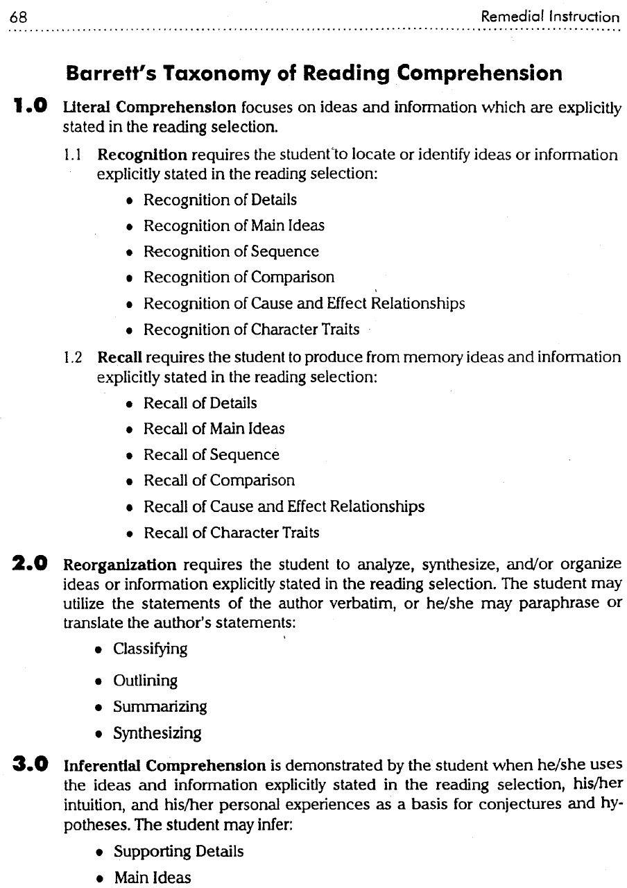 Barrett S Taxonomy Of Reading Comprehension Reading Comprehension Comprehension Literal Comprehension Levels of reading comprehension pdf