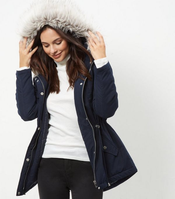Navy Fur Trim Coat | A Capsule Wardrobe | Pinterest | Hooded parka ...