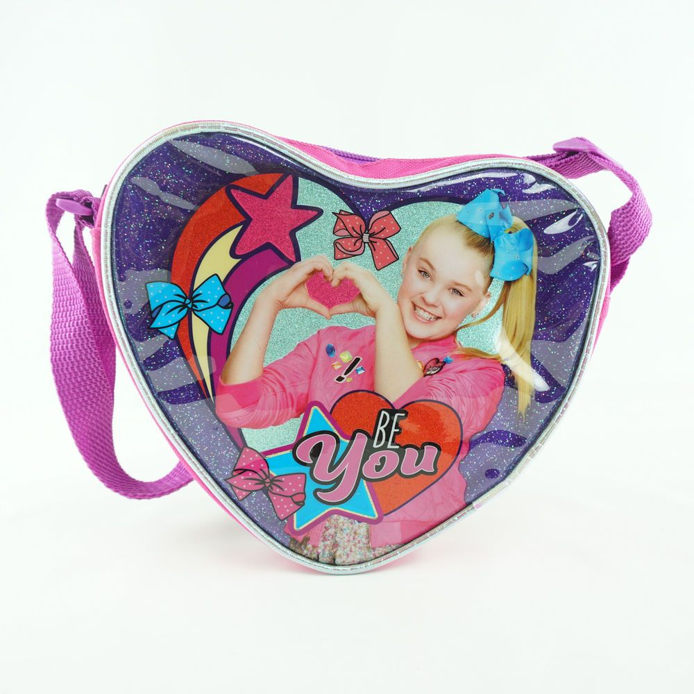JoJo Siwa Girls Purse Heart Shaped Side Bag Small Pink Purple /'Be You/'