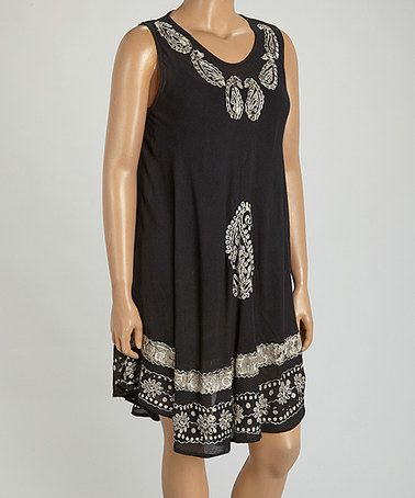 This Black & Silver Paisley Sleeveless Dress - Plus is perfect! #zulilyfinds