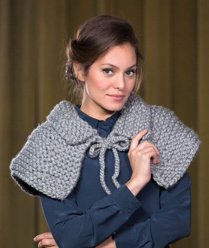 Artisan Capelet Free Knitting Pattern In Red Heart Yarns New New