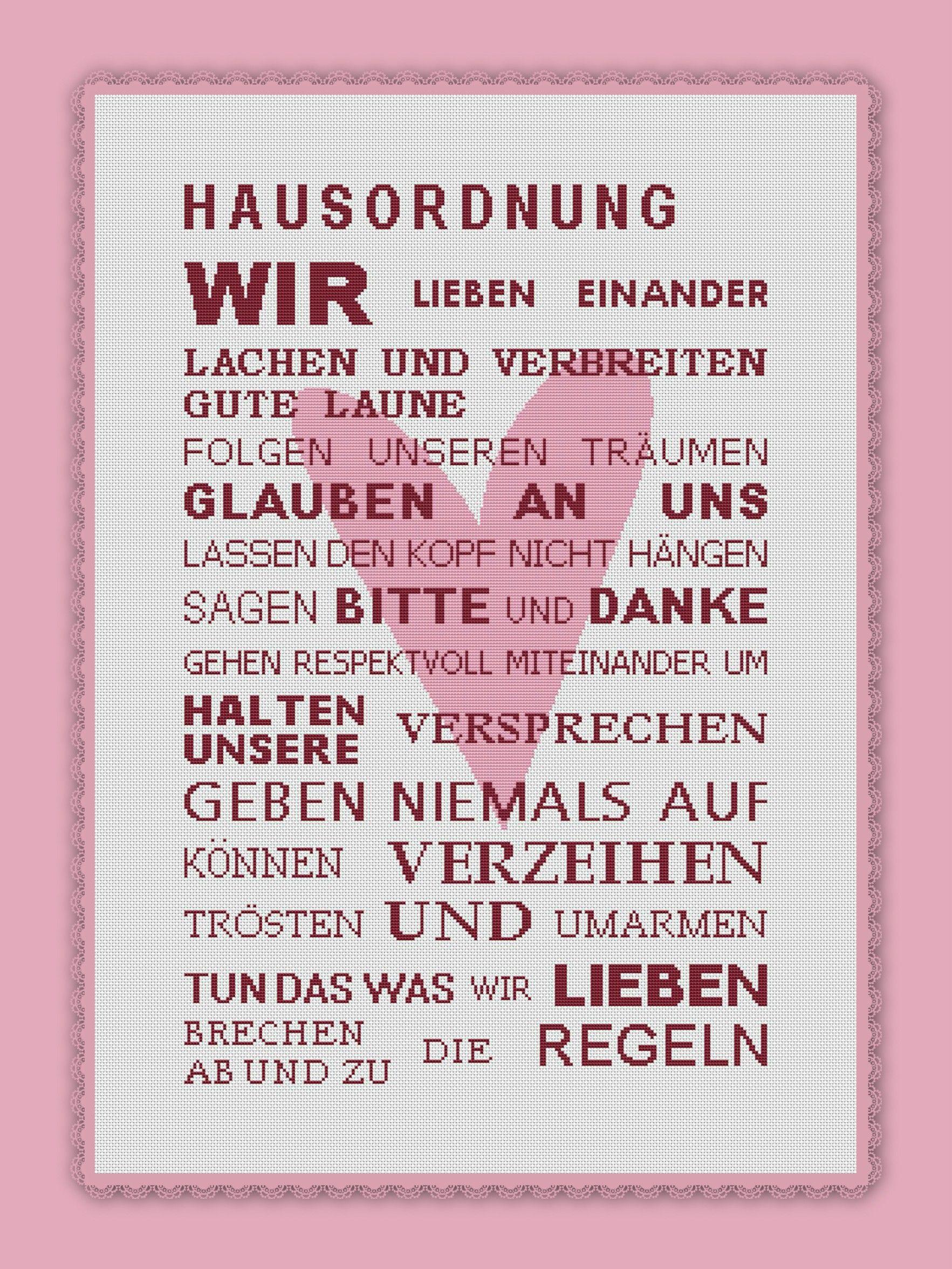 Hausordnung Kreuzstich Stickvorlage | Kreuzstich mit viele Liebe ...