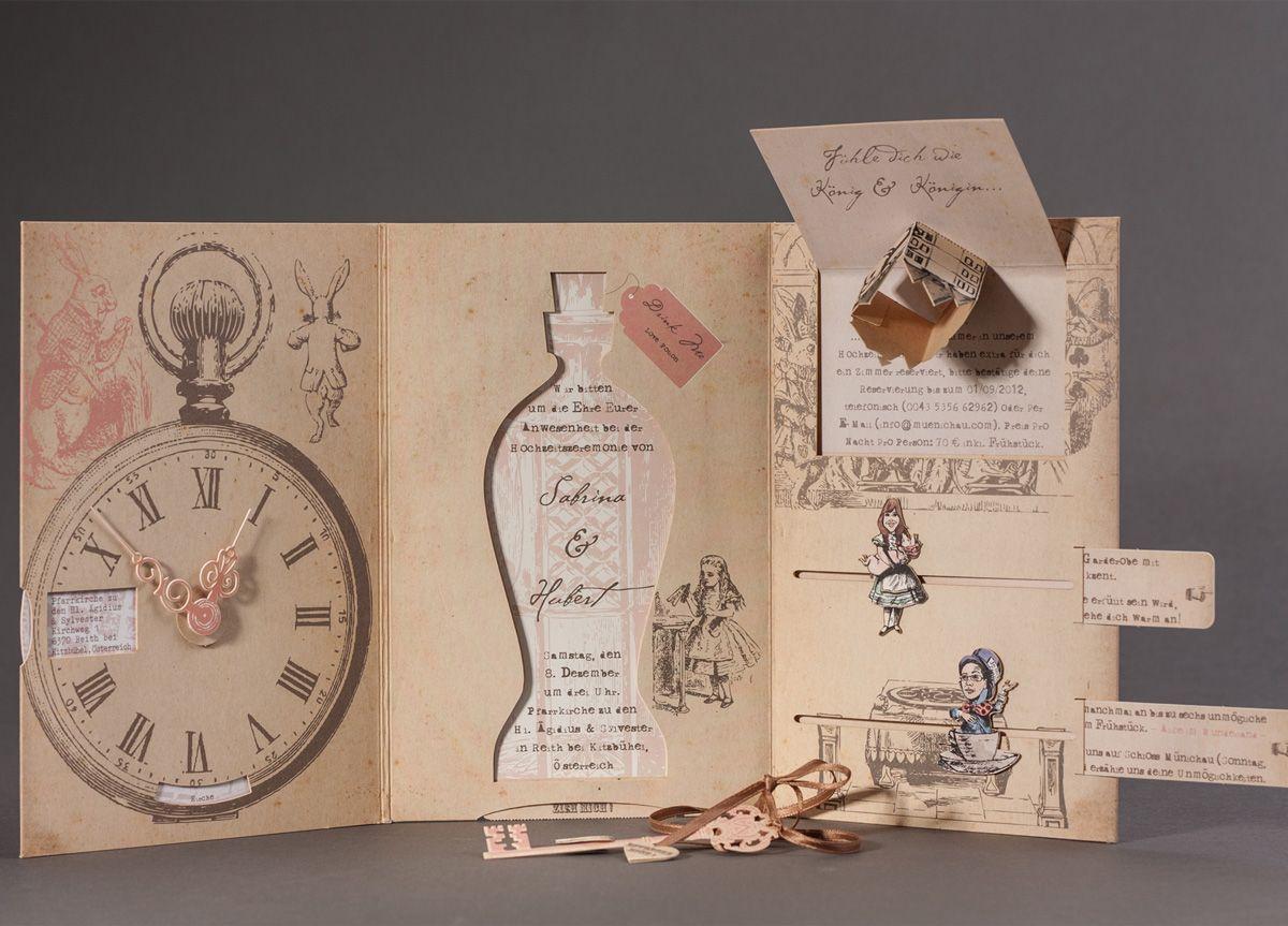 Interactive Alice In Wonderland Theme Wedding Invitation For Sabrina And  Hubert By Die Exklusiven Einladungskarten