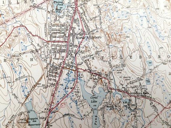 Topographic Map Rhode Island.Antique Attleboro Massachusetts Pawtucket Rhode Island 1943 Us