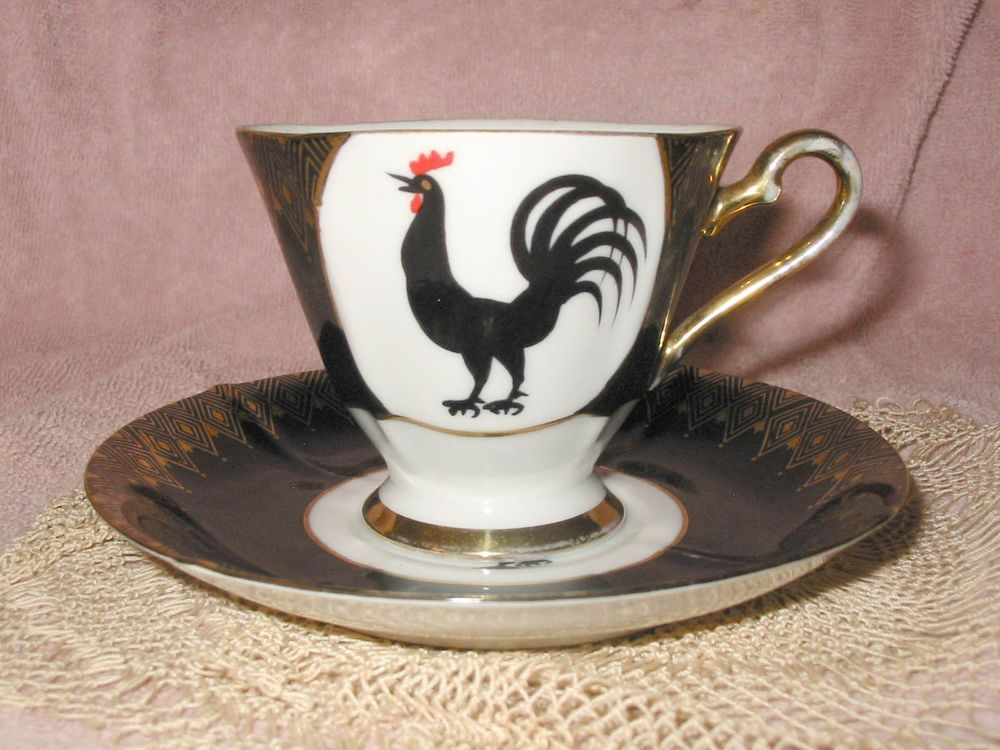 Vintage Black Rooster W Gold Diamond Tea Cup Saucer Hand Painted Nw C 118 Tea Cups Tea Cup Saucer Black Rooster