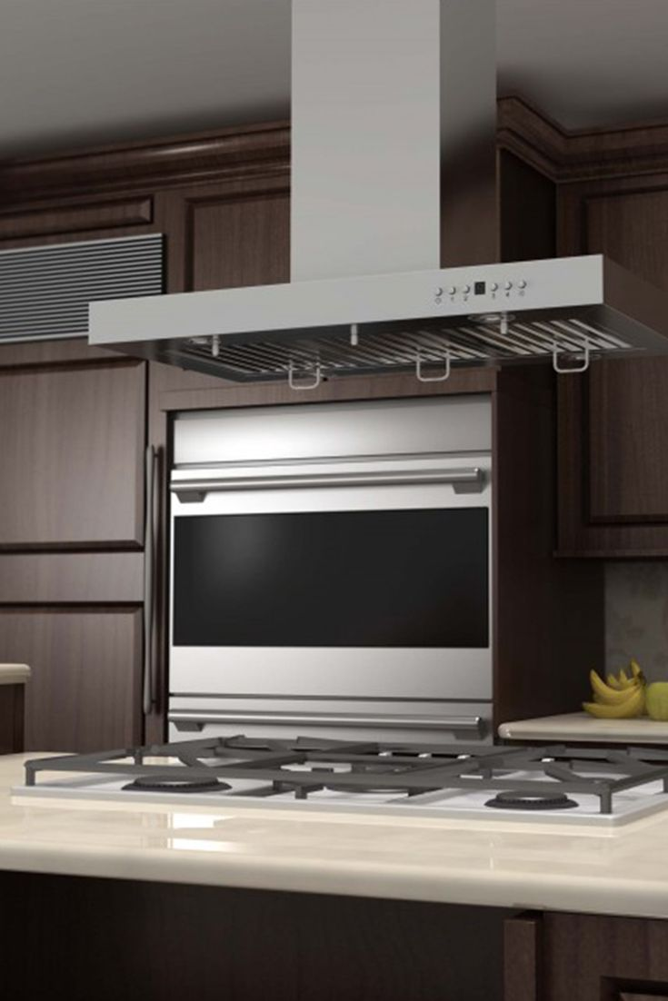 Remodel Your Kitchen Island With The Zline Ke2i Island Stainless Steel Range Hood It Has A Mode Stainless Steel Range Hood Brown Cabinets Kitchen Installation