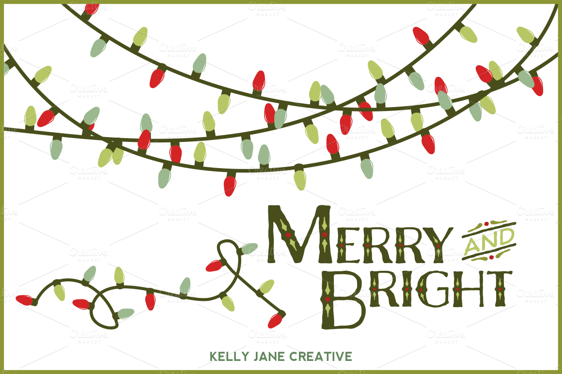 christmas lights vector by kelly jane creative on creativemarket