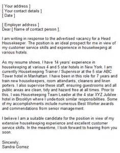 the sample housekeeper cover letter above is intended to give - Sample Housekeeper Cover Letter