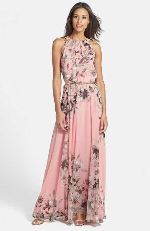 Eliza J Belted Chiffon Maxi Dress (Regular & Petite) | moda ...