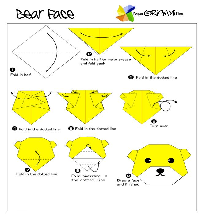 Easy Origami: Bear Face ~ Paper Origami Folding Diagram ... on