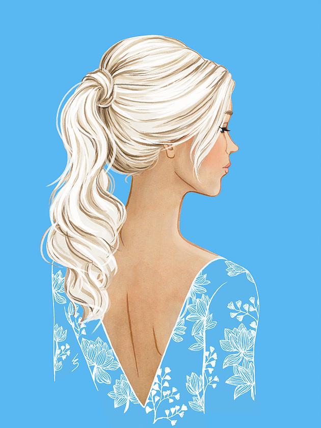 Fashion Illustration by Lydia Snowden. Platinum blonde hair.