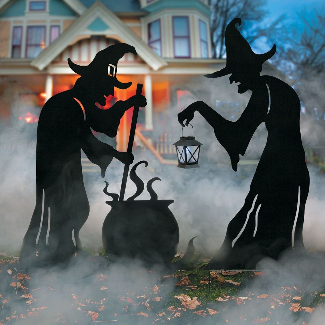 Witch Silhouettes with Cauldron Outdoor Halloween Decoration - Scary Halloween Yard Decorating Ideas