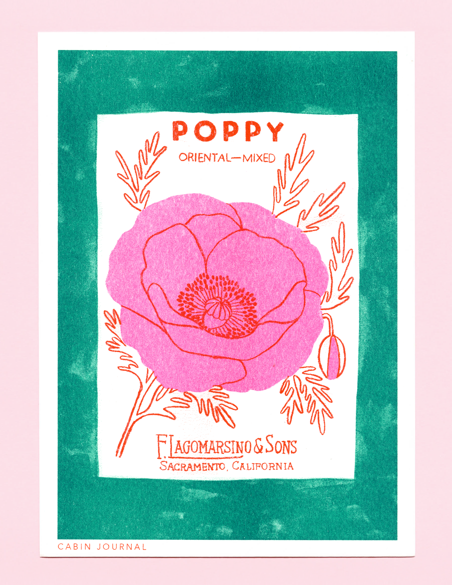 Cabin Journal mini risograph print, inspired by a vintage flower seed pack.