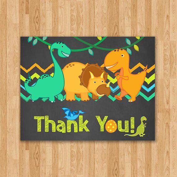 Dinosaur Birthday Thank You Card Chalkboard Blue & Green
