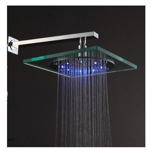 8 Inch Brass Rainfall Shower Head With Color Changing Led Light Led Shower Head Shower Heads Ceiling Mounted Shower Head