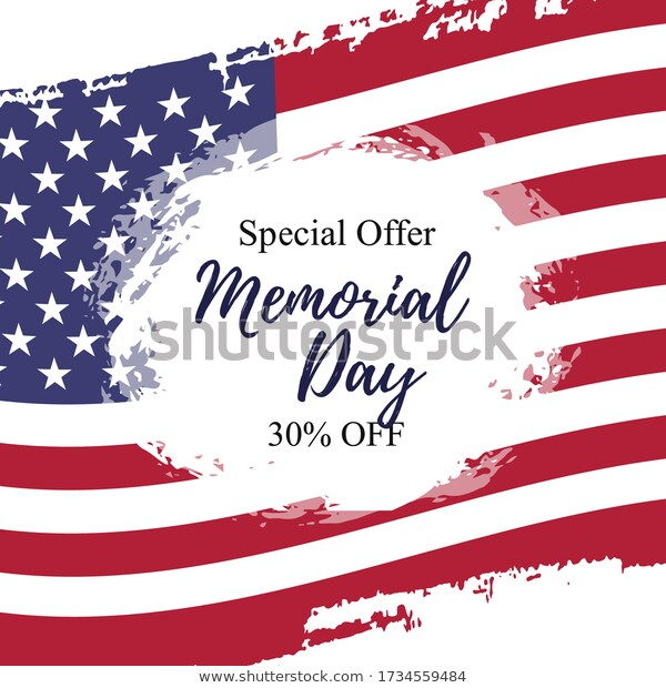 Sale Template Card Memorial Day Celebration Stock Vector Royalty Free 1734559484 Memorial Day Celebrations Sale Poster Memorial Day