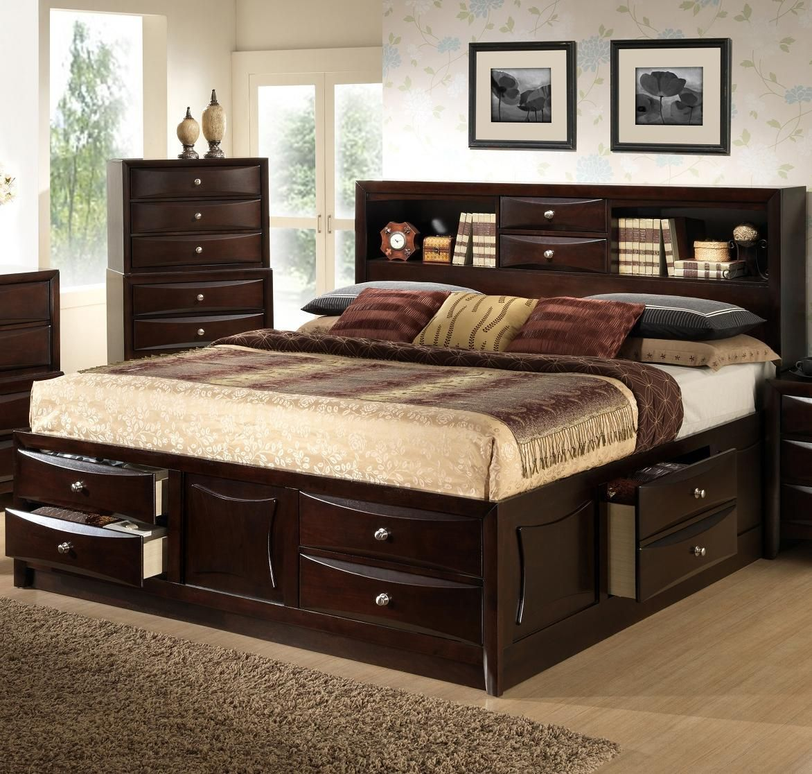 C0172 queen storage bed by lifestyle bedroom ideas - Bedroom furniture bookcase headboard ...