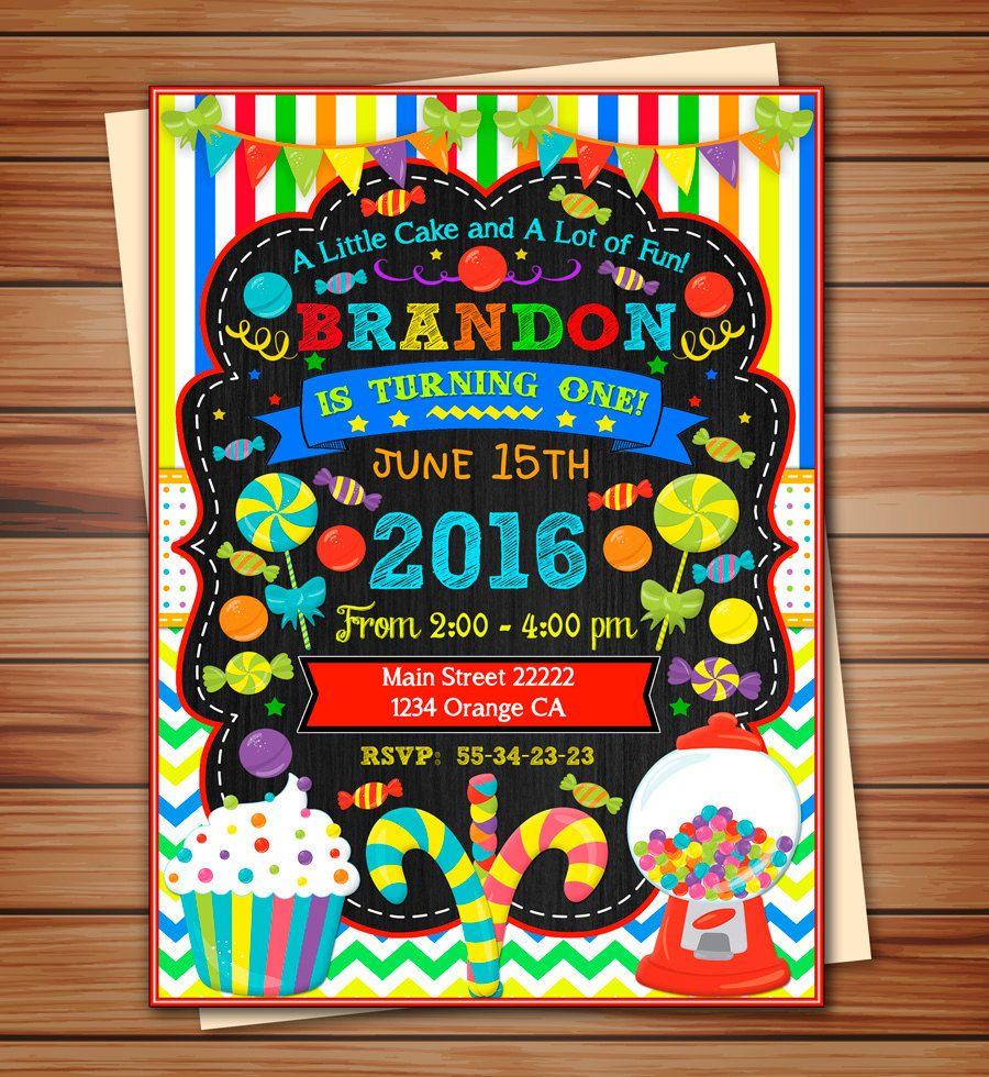 Candyland party invitation for Boy Candyland digital | Kids Birthday ...