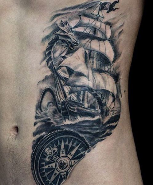 Rib cage side small ship tattoo for guys tattoos good for Religious rib tattoos for guys
