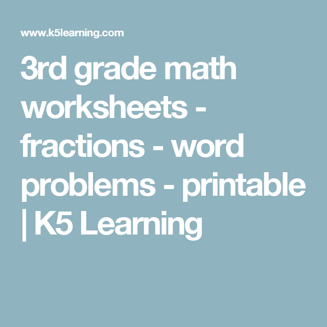 3rd grade math worksheets - fractions - word problems ...