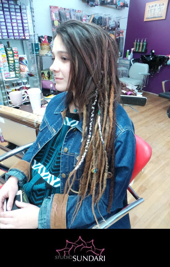 Mised Synthetic Permanent Dread Extensions Mixed With Human Hair To
