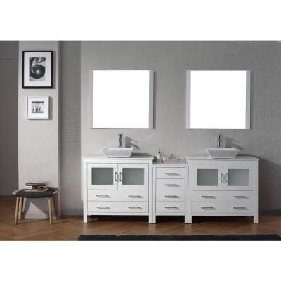 Virtu Usa Dior 91 In W Bath Vanity In White With Stone Vanity Top