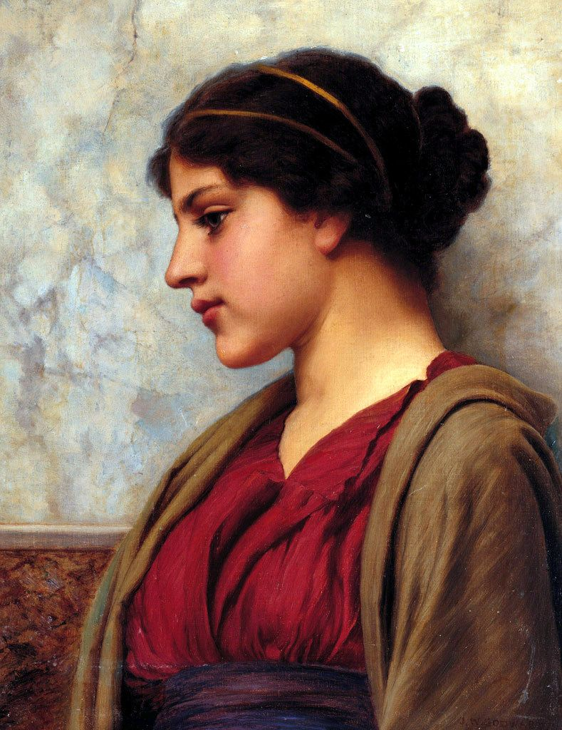 A Classical Beauty John William Godward John William Godward Greek Women Portrait Painting