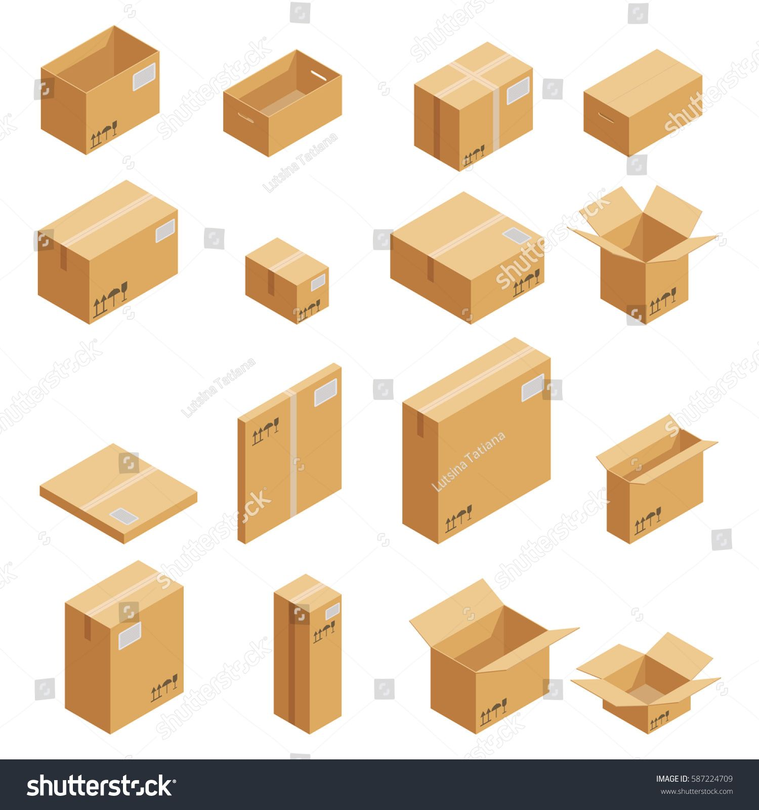 Download Carton Packaging Box Isometric Carton Packaging Box Images Set Of Different Size With Postal Signs This Side Up Fragile Vect Isometric Cardboard Cardboard Box