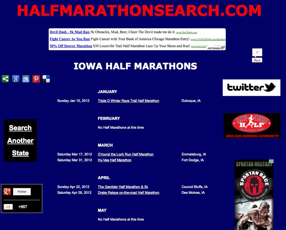 Iowa half marathons, Half marathon running events in Iowa, Iowa