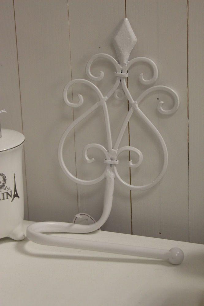 Shabby Stil Möbel toilettenrollenhalter wc rollenhalter weiss schnörkel shabby chic