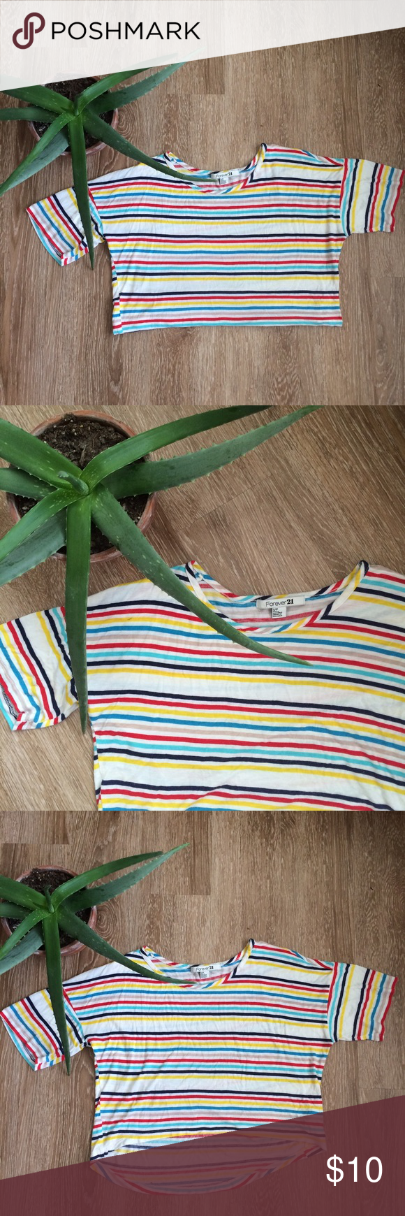 Forever 21 | Multicolored Striped Crop Top Such a fun and easy piece! Has been gently worn, some minor pilling, otherwise in great shape. Love the high/low hemline on this top, and the fabric is very lightweight and flowy, making it perfect for summertime. Forever 21 Tops Crop Tops