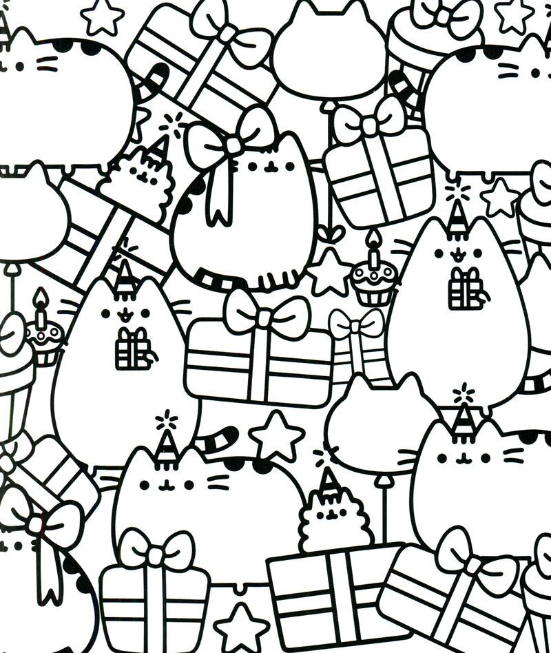 Happy Birthday Pusheen Coloring Page Cat Coloring Page Cute Coloring Pages Pusheen Coloring Pages