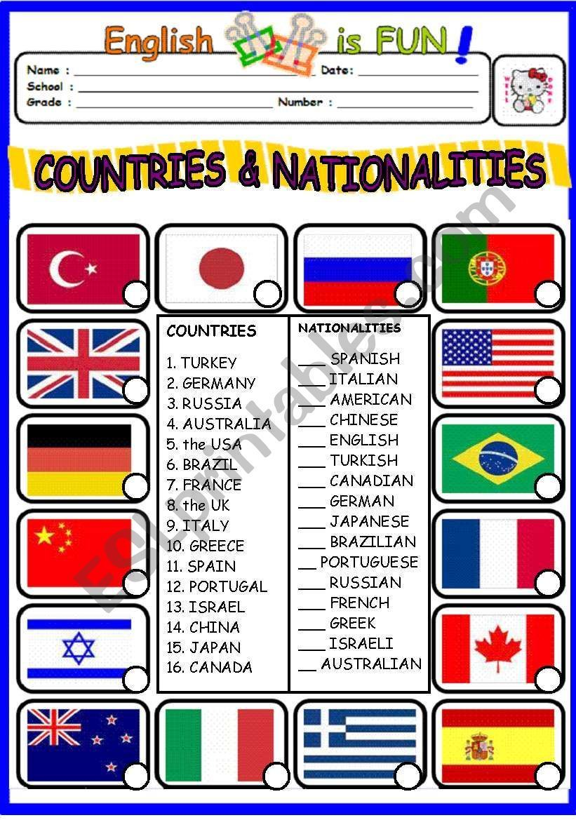 Special education #countries #nationalities #worksheet countries and  nationalities …   Reading comprehension worksheets [ 1169 x 821 Pixel ]
