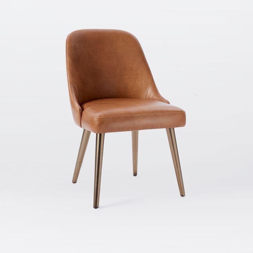 Midcentury leather dining chair saddleblackened brass