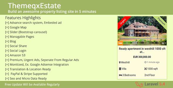 ThemeqxEstate - Laravel Real Estate Property Listing Portal | PHP