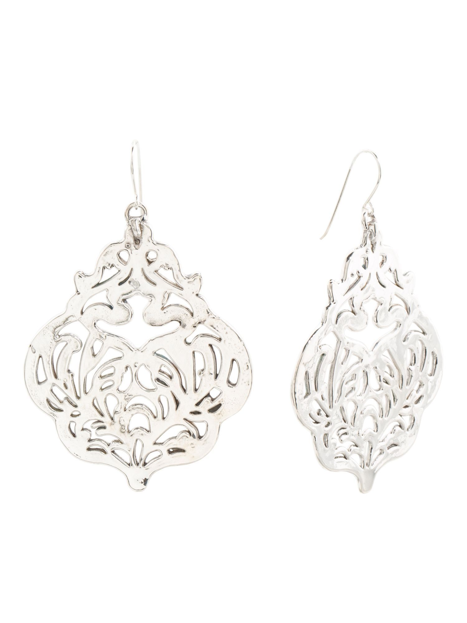 filigree usjewelryhouse products earrings rectangle geometric two tone