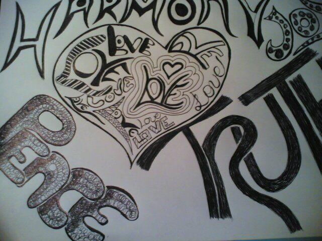 Word Art Drawings Doodle Art Word Of Love Peace By
