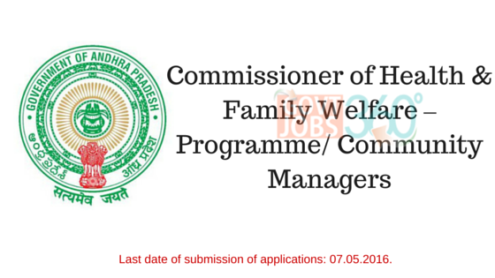 Commissioner of Health & Family Welfare – Programme/ Community Managers