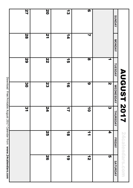 Printable August 2017 Calendar Calendar Printables August