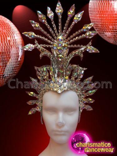 Rhinestone covered Black glitter iridescent crystal star burst spiked Headdress